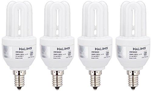 Halonix Super Saver 8W E14 3U CFL Bulb (Pack of 4, Cool Day Light)