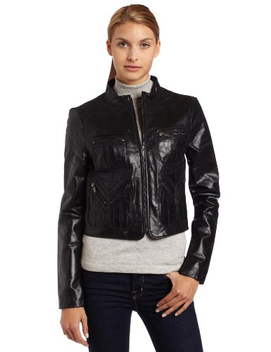 BCBGMAXAZRIA Womens Leather Bomber Jacket