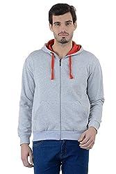 Enquotism Solid Grey Zipper Hoodie Sweatshirt