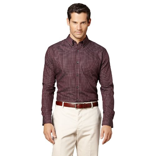 Van Heusen Mens Casual Button Down Shirt Big Tall Size Large Tall 16 1/2-17 Burgundy