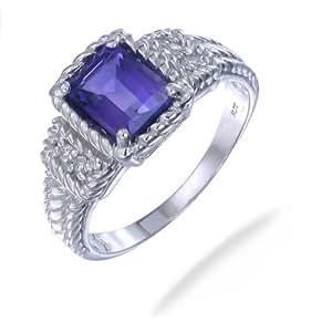 Vir Jewels, Bague Femme Argent fin 925/1000 Violet Amethyste 1.1 Karat, T 49