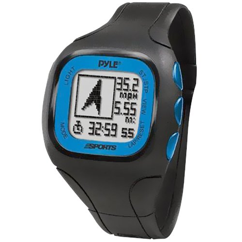 Pyle Sports PSWGP405BL GPS Watch with Heart Rate Transmission, Navigation, Speed, Distance, Workout Memory, Compass, PC Link (Blue)