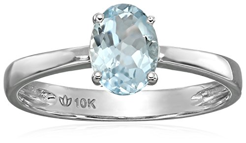 10k White Gold Aquamarine Oval Solitaire Engagement Ring, Size 7