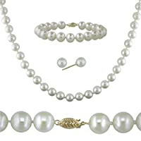 14K Gold 7-7.5mm/7.5-8mm Freshwater Pearl Necklace/ Earrings/ Bracelet Set - White