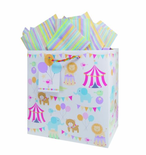 The Gift Wrap Company Large Square Gift Bags, Circus Pals, 12 Count