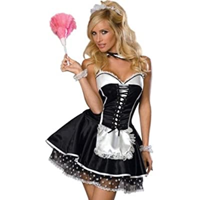 Sexy Adult Costumes: Sexy Womens Adult Costume Outfit Naughty Black French Maid Corset Dress Headpiece Polka Dot Slip