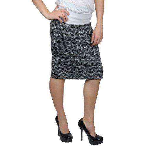 Brinley Co Womens Stretchy Chevron Print Pencil Skirt Image