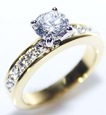 BLOW OUT SALE! Sizes P, Q, R, S, T & U! Ah! Jewellery. Beautiful Lab Created Flawless Diamond 6mm Brilliant Round Ring. Stunning Heavily Gold Electroplated. Excellent Quality.