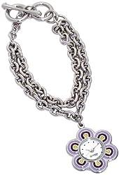 Lucky Brand Women's 161221PRSV Silver-Tone Flower Shaped Chain Bracelet Watch