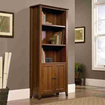 sauder-carson-forge-library-with-doors-and-3-adjustable-shelves