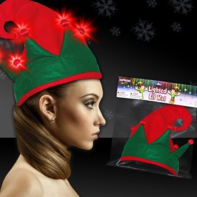 Windy City Novelties Flashing Red and Green LED Elf Hat