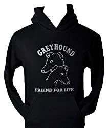 GREYHOUND~DOG LOVER T-SHIRT~GREAT GIFT!~BLACK HOODIE with SILVER SIZE S-XXL
