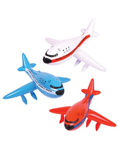 "Set of 3 Inflatable AIRPLANES/Jet/747/INFLATES/Birthday PARTY DECORATIONS Favors/Decor/24"" NEW in Package PLANE by RINCO - 1"