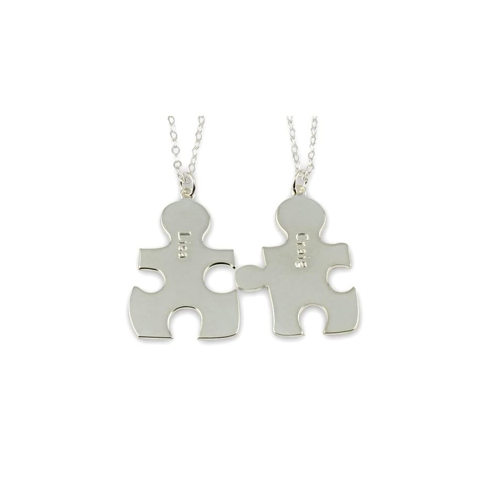 Necklace Forever Best Friends BFF Puzzle Pendant  Any Two Names, Two Chains