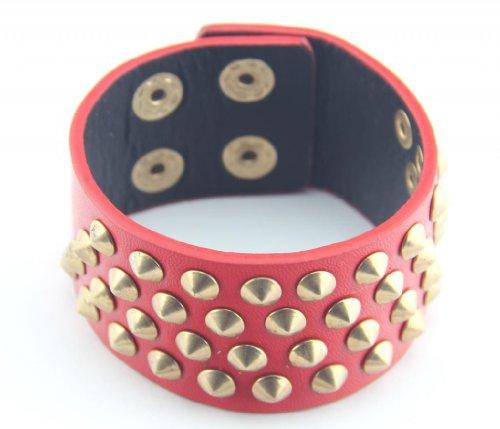 Baqi Punk Red Artificial Leather 3.5Mm Gold Rivet Bracelet Bangle Belt Unisex Red
