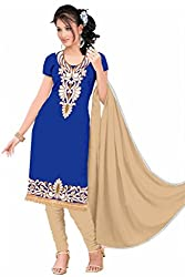 Aastha Creation Blue Cotton Embroidered Dress materials