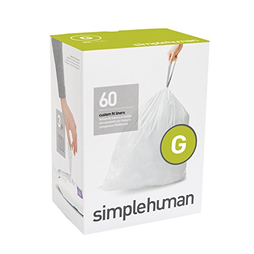 simplehuman Code G Custom Fit Liners, Drawstring Trash Bags, 30 Liter / 8 Gallon, 3 Refill Packs (60 Count) (13 Gallon Wastebasket Liners compare prices)