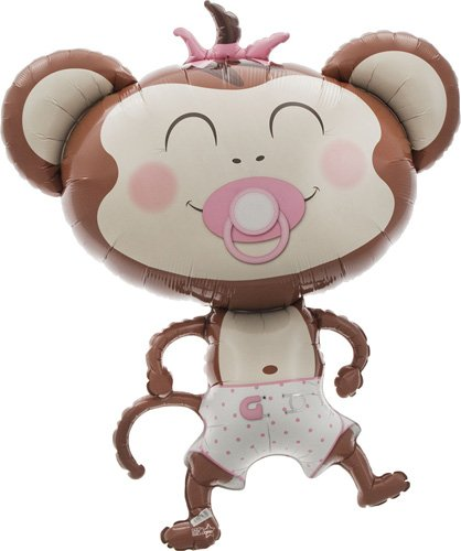 Baby Girl Monkey Helium Foil Balloon - 41 inch