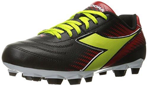 Diadora Women's Mago L W Lpu Soccer Shoe, Black/Lime/Red, 9 M US