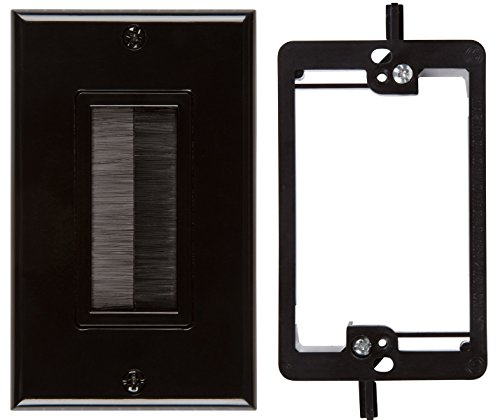 Buyer's Point Brush Wall Plate, with Single Gang Low Voltage Mounting Bracket Device (Black Kit) (Media Panel With Cover compare prices)