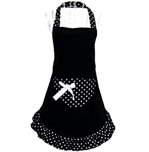 Hot Cute funny lovely Flirty Women Cupcake Aprons with Pocket for Ladies Kitchen Restaurant cafe Black White Dot hyzrz