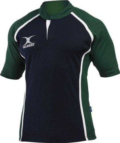Gilbert Men'S Xact Two-Tone Durable Rugby Playing Shirt Xx-Small Navy/Green