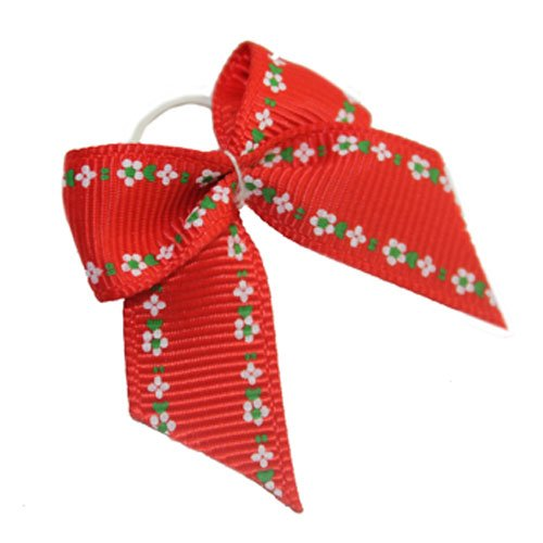 Red Pet Dog Cat Ribbon Hair Bows Bowknot Bow Knot Head Dress Accessories (Red)