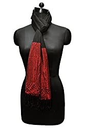 Bombay Fashions women's red border printed stole