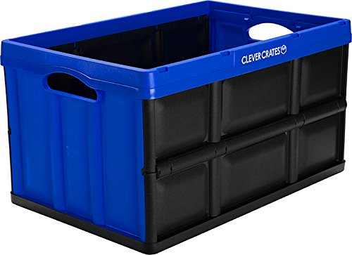 CleverMade CleverCrates Collapsible Storage Bin/Container: 62 Liter Solid Wall Utility Basket/Tote, Royal Blue (Collapsible Storage Containers compare prices)