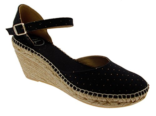 scarpa sandalob nero pois oro chiuso zeppa art DELTA espadrillas 38 nero
