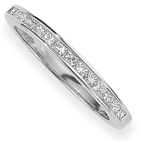 White Gold 0.15ct tw VS Princess-cut Half Eternity Diamond Ring Size M