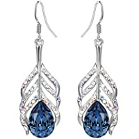 Yellow Chimes Swarovski Elements Blue Crystal Lord Krishna Peacock Feather Earring for Women & Girls
