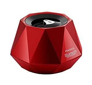 PINGKO Mini Portable High-end Stereo Diamond Bluetooth Speaker with Built-in Microphone for Hands-Free Phone Call - Red