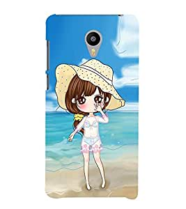 Vizagbeats Animated Girl Beach Background Back Case Cover for MEIZU M2 note