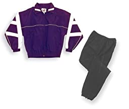 Code Four Athletics \'Firenzi\' jacket/pant warm-up set - size Adult S -color Purple/White jacket and solid-black pants