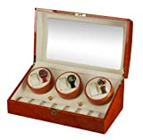 Mahogany Wood Finish 6 Watch Winder With 7 Additional Watch Storage Spaces, Three Turntable With 4 Program Settings.