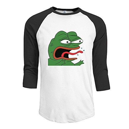 ZULA Men's Geek Baseball Short Sleeve Tee Pepe The Frog Feels Bad Man Black Size M