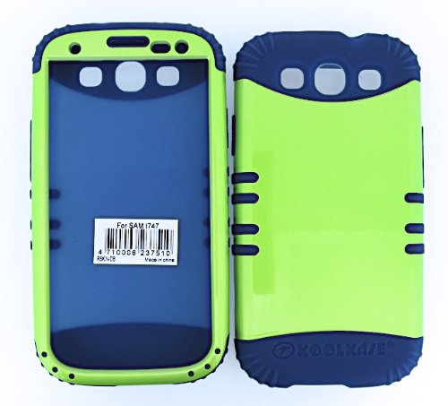 Shockproof Hybrid Cell Phone Cover Protector Faceplate Hard Case And Dark Blue Skin With Mini Stylus Pen. Kool Kase Rocker For Samsung Galaxy S3 Siii I9300 Glossy Green Db-A016-Pd