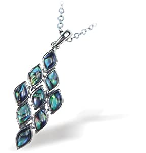 "Exquisite Natural Abalone Paua Shell Queen of Diamonds Pendant in Delicate Blue Green with 18"" fine jewellery chain"