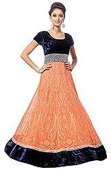 Justkartit Women's Designer Blue & Orange Colour Net & velvet Embroidered Semi-Stitched Long Anarkali Style Wedding Wear Gown