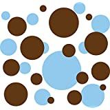 136 Polka Dot Peel & Stick Wall Decals, Baby Blue & Brown