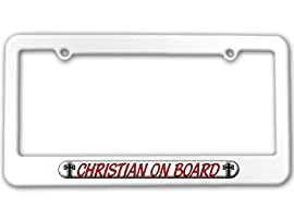 Christian On Board - Religious License Plate Tag Frame - Color White