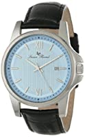 Lucien Piccard Men's 10048-012 Breithorn Light Blue Textured Dial Black Leather Watch by Lucien Piccard
