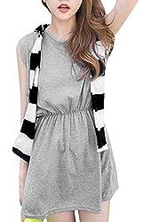 Women's Round Neck Shawl Decor Casual Fashion Layered Dress