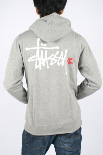Stussy - Mens Ss Basic Logo Zip Hoodie In Grey Heather/White-Red, Size: XX-Large, Color: Grey Heather/White-Red