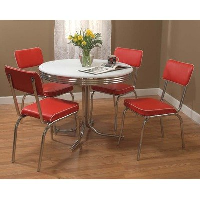 Retro 5 Piece Dining Set With Red Padded Vinyl Chairs