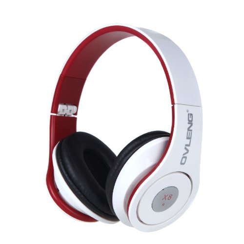 Andoer Ovleng X8 Foldable 3.5Mm Audio Cable Wired Soft Earmuffs And Adjustable Hinges Headphone Headset With Mic For Iphone Samsung Cell Phone (White)