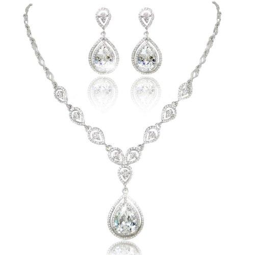 EVER FAITH® Wedding Silver-Tone Teardrop Necklace Earrings Set Clear CZ Austria…