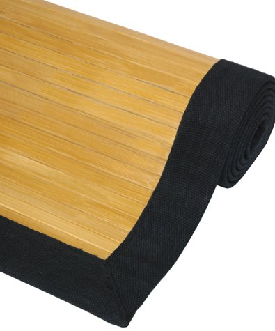 Quality Ecological Flooring - Bamboo Area Throw Rug w/ Black Canvas Edge - Natural - 4ft. x 6ft.