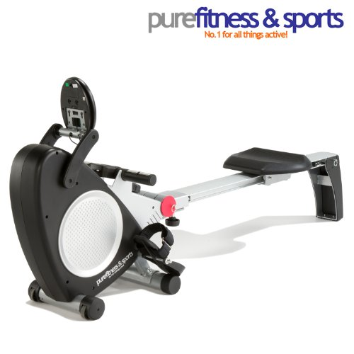 PureFitness & Sports R800 Unisex Adult magnetic rowing machine - Silver/Black, 31kg